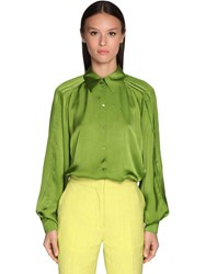 Rochas Pleated Satin Shirt Green