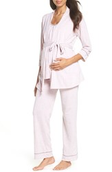 Belabumbum Maternity Nursing Robe And Pajamas Pink Marle