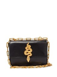 Valentino Maison Snake Leather Shoulder Bag Black