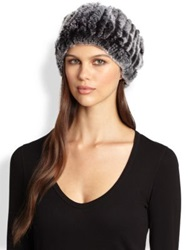 Surell Slouched Dyed Rabbit Fur Hat Black Frost