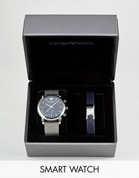Emporio Armani Connected Art9003 Mesh Hybrid Smart Watch And Bracelet Gift Set Silver