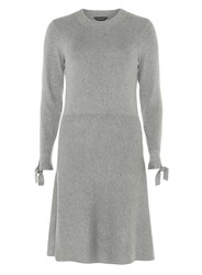 Dorothy Perkins Grey Long Tie Sleeve Knitted Skater Dress