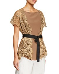 Brunello Cucinelli Two Piece Floral Embroidered Wrap Top With Silk Tank Brown