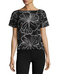 Catherine Malandrino Floral Embroidered Short Sleeve Top Black White