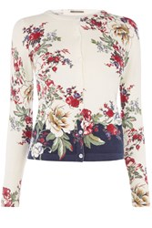 Oasis Bonnie Placement Print Cardi Off White