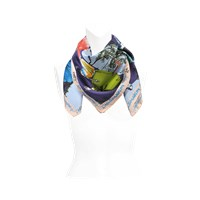 Christian Lacroix 90X90 20 Ans Square Scarf In Deep Blue Twill Silk