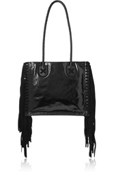 Tamara Mellon Black Rock Suede Fringed Patent Leather Tote