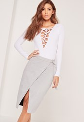 Missguided Belt Tie Faux Suede Midi Skirt Grey Grey