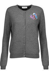 Carven Embroidered Wool Cardigan Gray