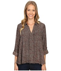 Bobeau Maisie Hidden Placket Woven Blouse Olive Paisley Women's Blouse