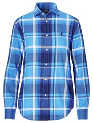 Polo Ralph Lauren Relaxed Fit Plaid Cotton Shirt Lake Blue Navy