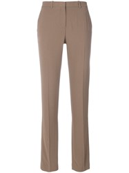 Theory Fitted Tailored Trousers Women Acetate Viscose Crepe 10 Brown