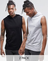 Asos Muscle Sleeveless T Shirt With Hood 2 Pack Save 17 Blackgrey
