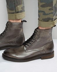 Base London Track Lace Up Leather Boots Grey