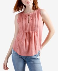 Lucky Brand Crochet Trim Pintucked Babydoll Top Old Rose