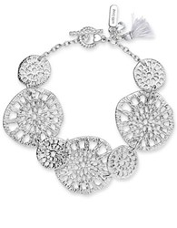 Lonna And Lilly Cubic Zirconia Cutout Coin Bracelet Silver