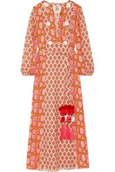 Figue Ravenna Embellished Printed Cotton Midi Dress Pink