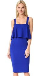 Milly Flounce Fitted Dress Cobalt