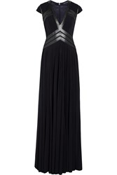 Catherine Deane Wyoming Leather Paneled Jersey Gown