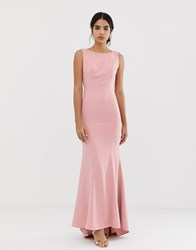 Jarlo Maxi Dress With Lace Open Back And Train In Pink