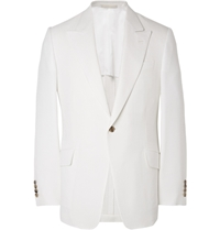 Huntsman White Slim Fit Wool Silk And Linen Blend Blazer