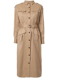 Loveless Belted Shirt Dress Brown