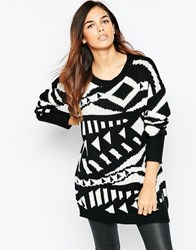 Ax Paris Jumper In Mono Jacquard Black