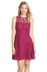 Women's Adelyn Rae Sleeveless Lace Fit And Flare Dress Plum