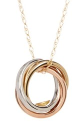 Candela 10K Tricolor Gold Rolling Rings Charm Necklace Metallic