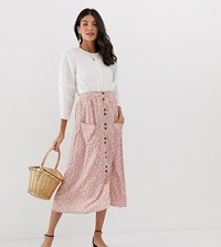 Asos Design Tall Button Front Midi Skirt With Pockets In Brown Floral Print Multi