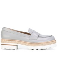 Fratelli Rossetti Stacked Sole Loafers Women Leather Rubber 37 Grey