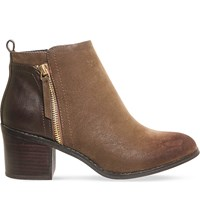 Office Lola Double Zip Ankle Boots Chocolate Nubuck