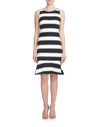 Cynthia Steffe Striped Drop Waist Dress Rich Black White