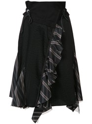 Sacai Asymmetric Pleated Skirt Black