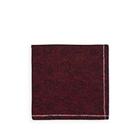 Fairfax Reversible Wool Pocket Square Red