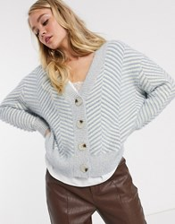 Fashion Union Knitted Cardigan With Chevron Pattern Blue