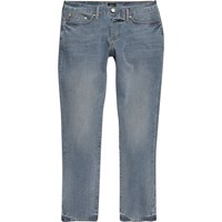 River Island Mens Mid Dusty Blue Dylan Slim Cut Jeans