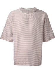 Lucio Vanotti Striped Boxy T Shirt White