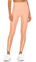 Beyond Yoga Drip Dot High Waisted Midi Legging In Orange. Coral Dust And Rose Gold Drip Dot