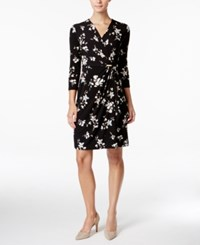 Charter Club Printed Faux Wrap Dress Only At Macy's Deep Black Combo