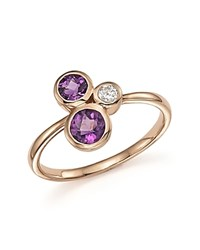 Bloomingdale's Diamond And Amethyst Three Stone Ring In 14K Rose Gold Purple White