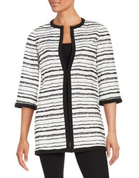 Nipon Boutique Striped Jacquard Topper Black White
