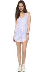 Lna Oahu Tank Dress Coral Blue Tie Dye