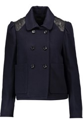 Maje Leather Trimmed Wool Blend Jacket Midnight Blue