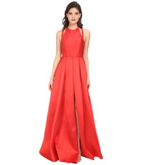 Faviana Frosted Satin Gown With Split Front Overskirt 7752 Red Women's Dress