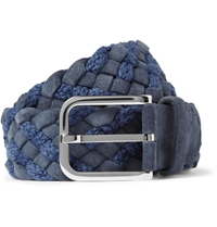 Loro Piana Blue 4Cm Woven Suede And Cotton Belt