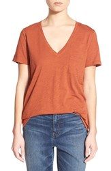 Women's Madewell Slub Pocket V Neck Tee Russet Brown