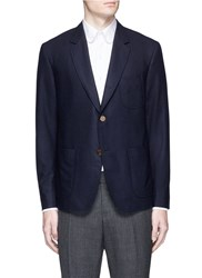 Thom Browne Whale Embroidered Cashmere Blazer Blue