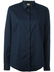 Fay Concealed Placket Shirt Blue