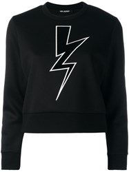 Neil Barrett Lightning Bolt Cropped Sweatshirt Black